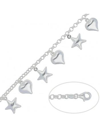 Pulsera plata estrellas y...
