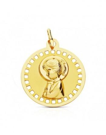 Medalla Virgen niña redonda