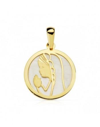 Medalla Virgen niña con nácar